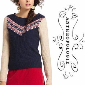 Anthropologie Sparrow Pom Pom Intarsia Sweater